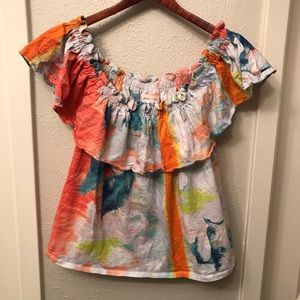 Meadow Rue Anthropologie watercolor ruffle top EUC